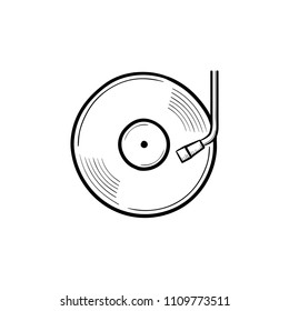 Phonograph and turntable hand drawn outline doodle icon. Vinyl record turntable, DJ concept vector sketch illustration for print, web, mobile and infographics isolated on white background.