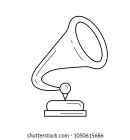 Phonograph vector line icon isolated on white background. Phonograph line icon for infographic, website or app. Icon designed on a grid system.