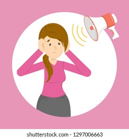 Phonophobia as a symptom of migraine. Stress from loud noisy sound. Noise pollution. Woman cover ears. Vector illustration in cartoon style