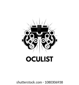 Phoropter. Ophthalmologic equipment. Oculist logo label. Vision test. Vector illustration