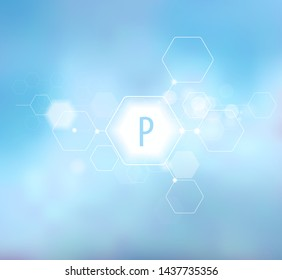 Phosphorus. Abstract composition on a blue background in a modern style. Trace elements beneficial to human health. Schematic designation of Phosphorus.