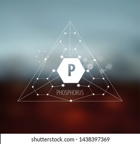 Phosphorus. Abstract drawing in modern style. Polygonal element on blurred background. Scientific research, medicine.