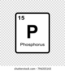 Phosphorus chemical element. Sign with atomic number. Chemical element of periodic table.