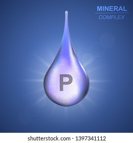 Phosphorus Mineral shining blue drop icon .Mineral complex background