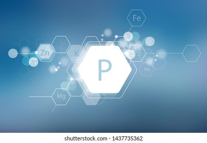 Phosphorus. Minerals for human health. Structural schematic diagram on a blurred background. Conditional image of Phosphorus.