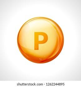 Phosphorus P 3d minerals vital vector vitamin gold icon. Vitamin P symbol nutrition design element.