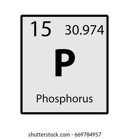 Phosphorus periodic table element gray icon on white background vector