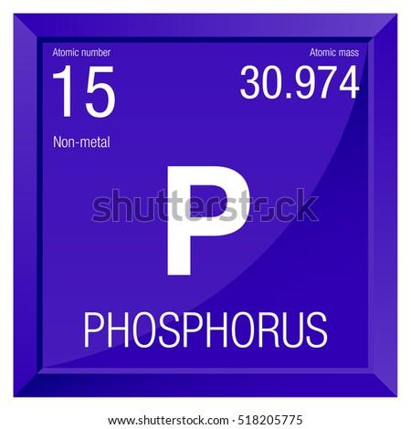 Phosphorus Symbol Element Number 15 Periodic Stock Vector Royalty