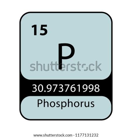 Phosphorus Symbol Chemical Element Periodic Table On Stock Vector