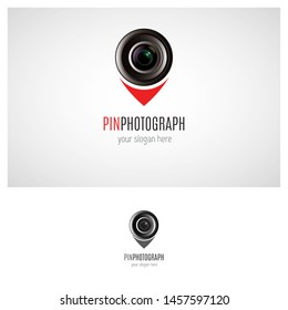 Photgraphy logo design idea, that is combining lens and pin, this logo can use for your business such as photoschool, photoeducation, photostudio, application logo, photolab, etc. - Vector.