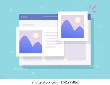 Photo album online with digital picture gallery watching on website and text comments or internet electronic photography images web files vector flat cartoon illustration