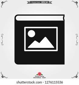 Photo album vector icon on white background.