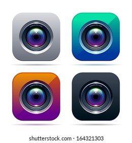 Photo app icon. Color variations. Vector illustration.