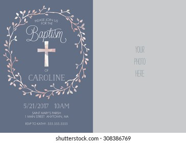 Photo Baptism/Christening/First Communion/Confirmation Invitation with Watercolor Cross and Floral Wreath Design - Vector