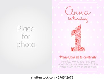 Swell 1St Birthday Invitation Images Stock Photos Vectors Shutterstock Funny Birthday Cards Online Inifofree Goldxyz