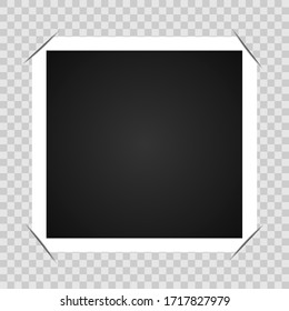 Photo with a black middle in a white frame with wrapped corners Vector illustration.