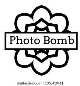 PHOTO BOMB stamp on white