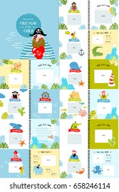 """A photo book with cartoon characters for children, the """"first year of the child"""". Frames, stickers, metric. Memory book for photos. Cover with a pirate on a blue background. Marine theme."""