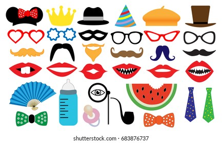 Photo booth accessory collection. Props retro party set. People face fake. Subjects for a photo shoot, session. Children's entertainment game. Vector illustration mustache, glasses, hat, monocle