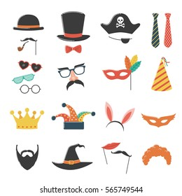 Photo booth birthday and party set with hat, mask, costume, glasses and beard.