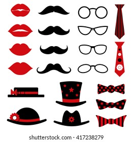 Photo booth birthday and party vector set with lips, mustaches, glasses, hats and bow tie. Photo booth for masquerade, mustache and glasses photo booth accessory illustration