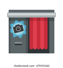 Photo booth on white background, flat style vector illustration.