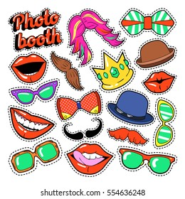 Photo Booth Party Set with Glasses, Mustache, Hats and Lips for Stickers and Props. Vector Doodle