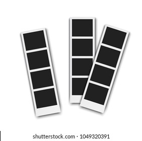 Photo booth pistures isolated on white background. Retro photoframe with shadow, realistic vector illustration