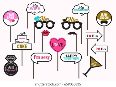 Photo booth Prop Wedding Party, Featuring cute Funny Love, Married Doodle Speech Bubble Valentine's day Vector illustration Collection. Pink background isolated.