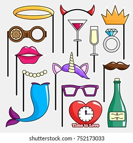 Photo booth Props. Birthday and Party Accessories Set. Vector illustration.