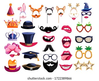 Photo booth props. Birthday photobooth element vector collection. Party props for funny photo booth set with mask, hat, eyeglasses in vintage style. Cartoon wedding photo props isolated on white