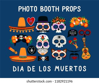 Photo booth props for Dia de los Muertos. Vector set.