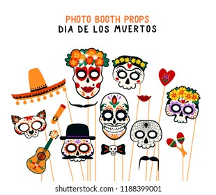 Photo booth props for Dia de los Muertos. Vector collection.