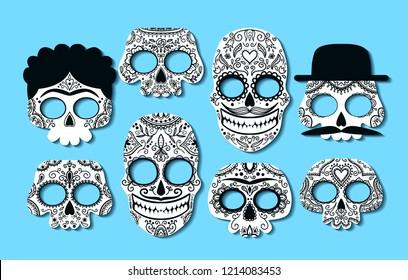 Photo booth props for Dia de los Muertos. Masks with hand drawn doodles. Vector set.