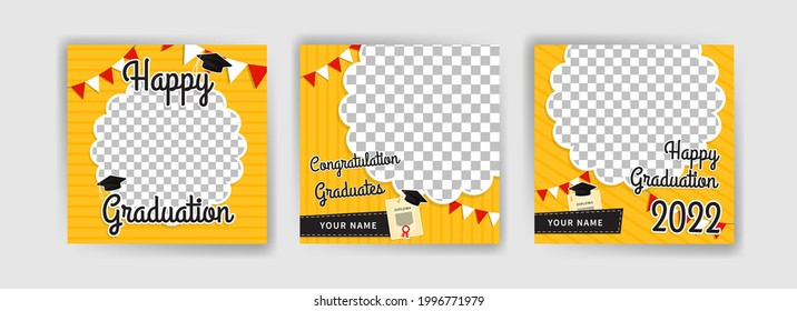 Photo booth props frame for graduation party. Selfie concept. Frame with hats for graduates. Congratulate graduate quotes.
