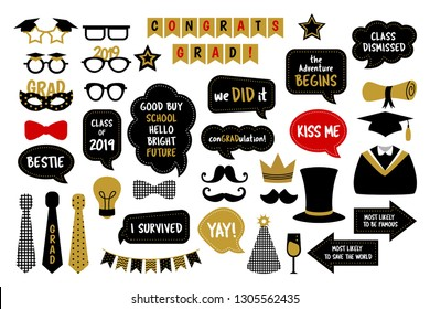 Photo booth props for graduation party. Hat, cap, tie, glasses, diploma for those who graduate from school or college. Photobooth vector set in gold and black colors. Congrats grad with funny quotes.