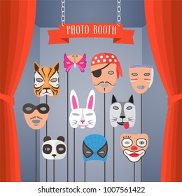 Photo booth props with masks for children with different animals vector illustrations. Decoration for kids party for funny photobooth shooting
