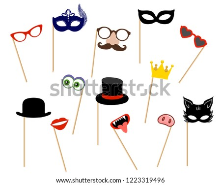 Photo Booth Props Photobooth Costume Mask Stock Vector Royalty Free