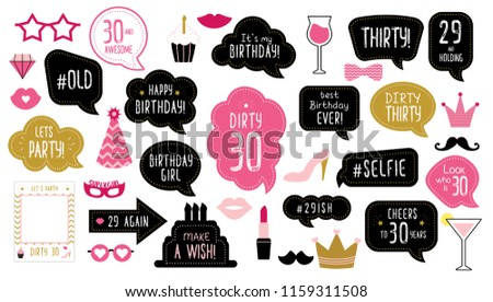 Photo Booth Props Set For 30th Birthday Party Happy Dirty Thirty 30 Mustache