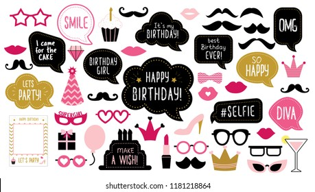 Photo booth props set for birthday party. Happy birthday. Mustache, funny phrases, glasses, lips, crown, cake for anniversary. Bubble speech. Photobooth elements.