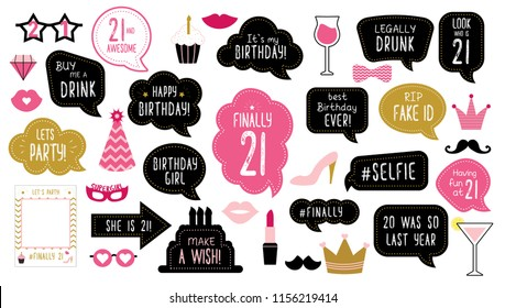 Photo booth props set for finally twenty one 21  birthday. Happy birthday party. Elements: mustache, phrases, glasses, lips, crown, frame,  cake for 21th anniversary. Photobooth bubble speech