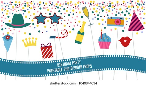 Photo booth props set vector illustration. Collection of elements with birthday party items - hat, sunglasses, cake, present. Perfect for photobooth shooting