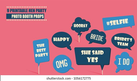 Photo booth props set vector illustration. Collection of icons with wedding hen party speech bubbles. Perfect for photobooth shooting