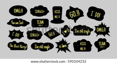 photo booth props text design props stock vector royalty free