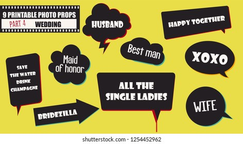 Photo booth props vector elements for wedding or engagement party. Printable funny wedding quotes set for photobooth shooting or selfie photographs