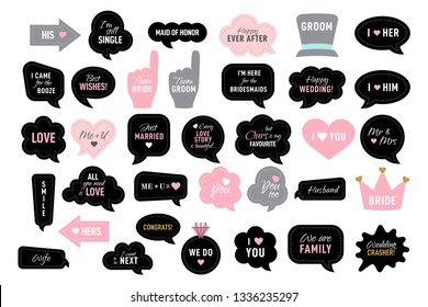 Photo booth props for wedding party. Vector speech bubbles with funny quotes like team bride, just married, I do. Black and pink photobooth - heart, hat, crown, arrow, ring. Use for selfie, frame