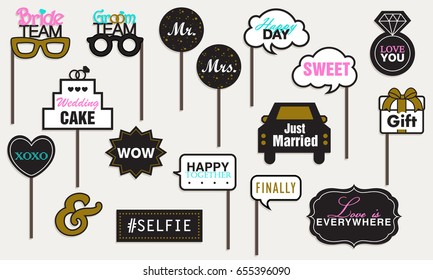 Photo booth Props Weddings Party, Featuring cute Funny Love, Just Married Doodle Speech Bubble Valentine's day Black and Gold Vector illustration Collection.