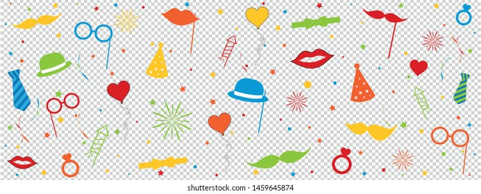 Photo Booth Wedding Carnival Equipment Icons With Circles And Stars - Colorful Vector Illustration - Isolated On Transparent Background