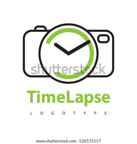 photo camera clock hands vector logotype stock vector royalty free
