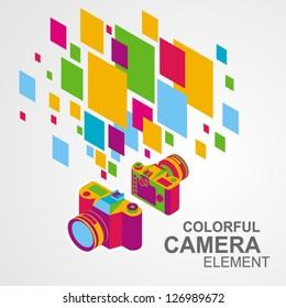 photo camera colorful element background / eps8, no transparent